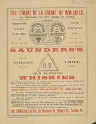 Advert For Jas. Saunders & Co. Whiskies